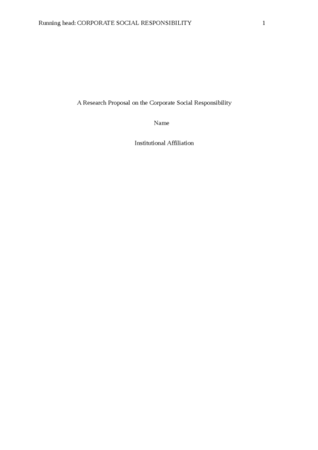 A research proposal on the Corporate Social Responsibility