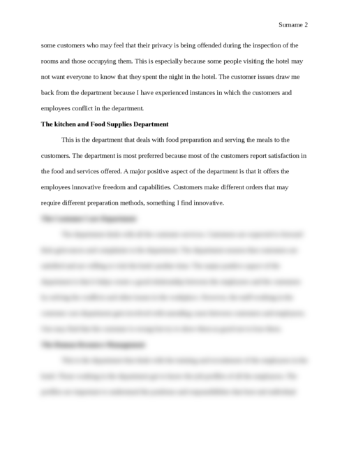 Hotel and Lodging Departments and Preferences - Page 2