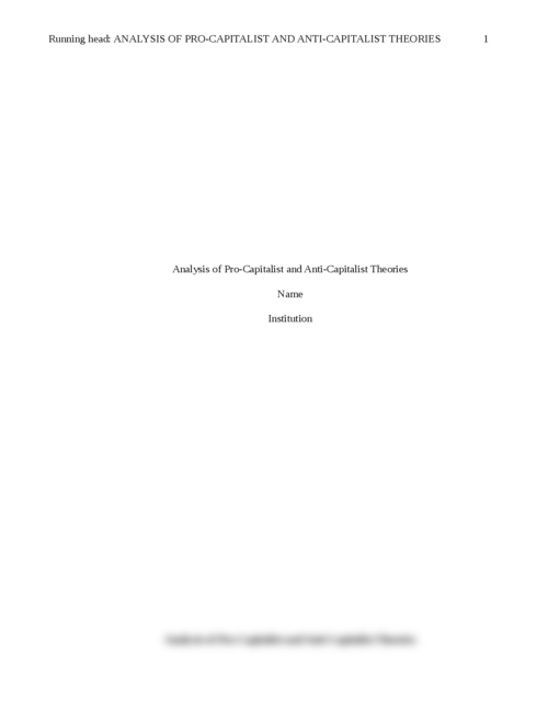 Analysis of Pro-Capitalist and Anti-Capitalist Theories - Page 1