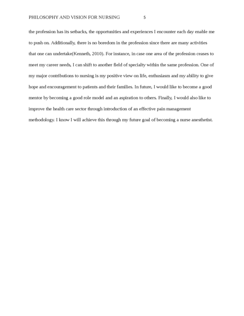 Philosophy and Vision for Nursing - Page 5