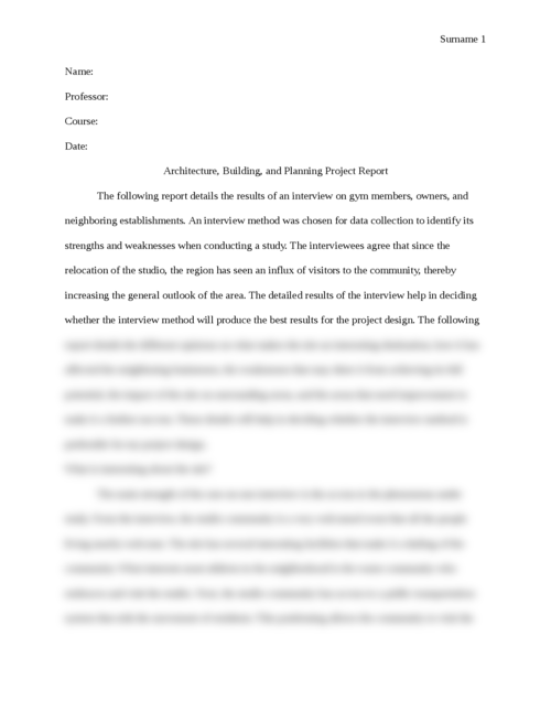Architecture, Building, and Planning Project Report - Page 1