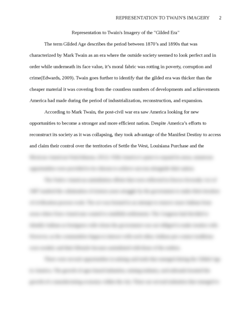 """Representation to Twain's Imagery of the """"Gilded Age"""" - Page 2"""