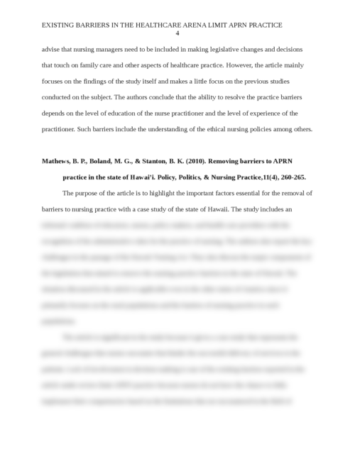 Existing Barriers in the Healthcare Arena Limit APRN Practice - Page 4