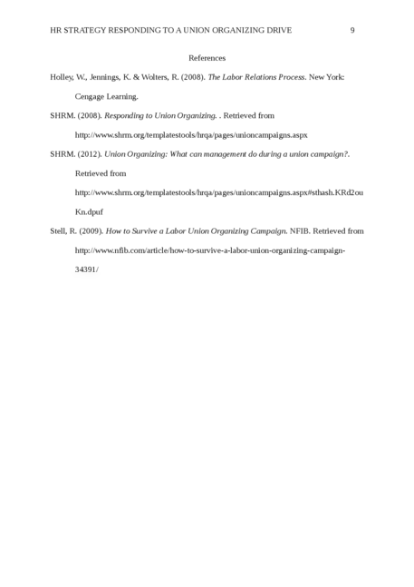 HR Strategy Responding to a Union Organizing Drive - Page 9