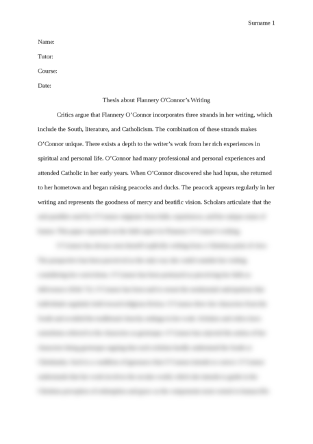 thesis about Flannery O'Connor writing - Page 1