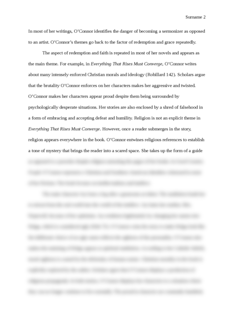 thesis about Flannery O'Connor writing - Page 2
