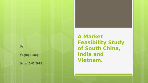 A market feasibility study of South China, India and Vietnamm - Page 1