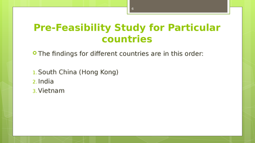 A market feasibility study of South China, India and Vietnamm - Page 6