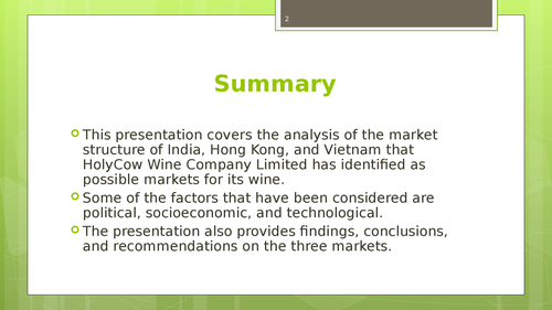 A market feasibility study of South China, India and Vietnamm - Page 2