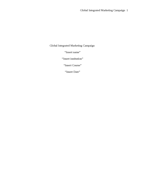 Global Integrated Marketing Campaign  - Page 1