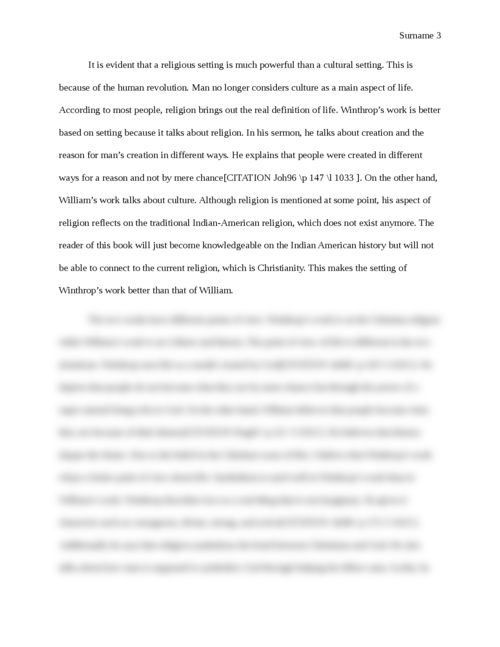 """Comparative essay between """"A model of Christian charity"""" by John Winthrop and """"A key into then language of America by Roger Williams"""".  - Page 3"""