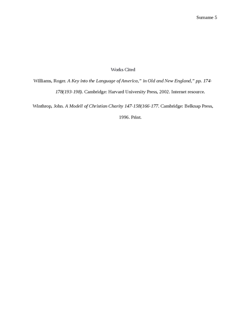 """Comparative essay between """"A model of Christian charity"""" by John Winthrop and """"A key into then language of America by Roger Williams"""".  - Page 5"""