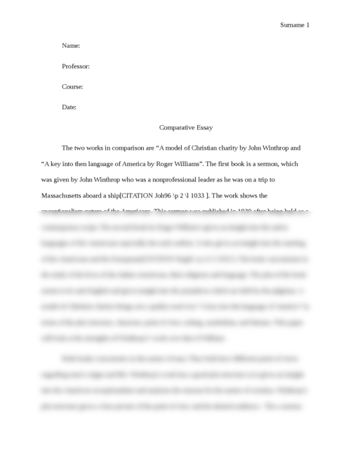 """Comparative essay between """"A model of Christian charity"""" by John Winthrop and """"A key into then language of America by Roger Williams"""".  - Page 1"""