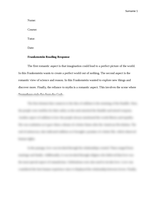 Frankenstein Reading Response - Page 1