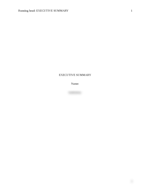 Executive Summary  - Page 1