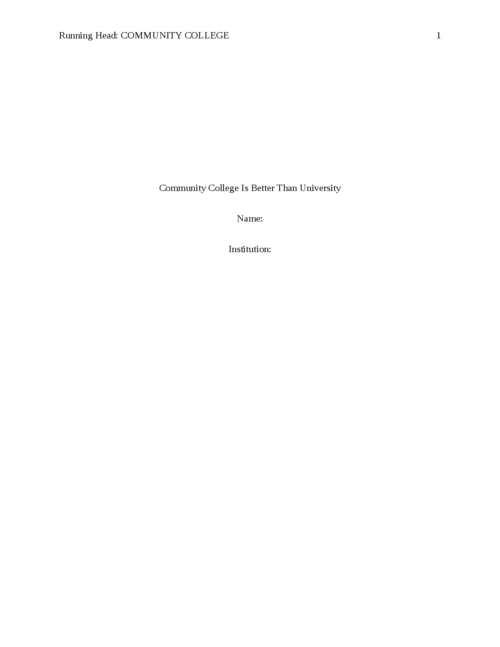 Community college is better than University - Page 1