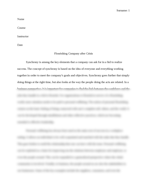 Flourishing Company after Crisis - Page 1