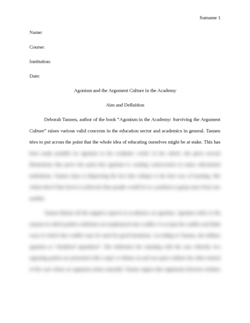 Agonism and the Argument Culture in the Academy - Page 1