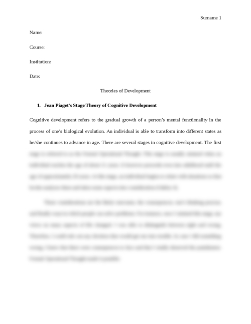 Theories of Development - Page 1