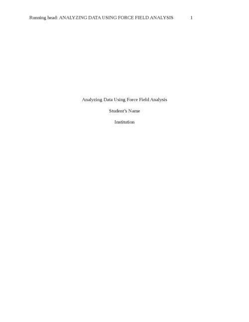 Analyzing Data Using Force Field Analysis - Page 1