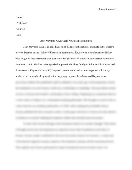 John Maynard Keynes and Keynesian Economics - Page 1