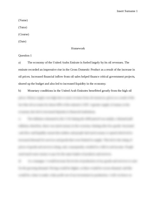 Economics Homework Questions - Page 1