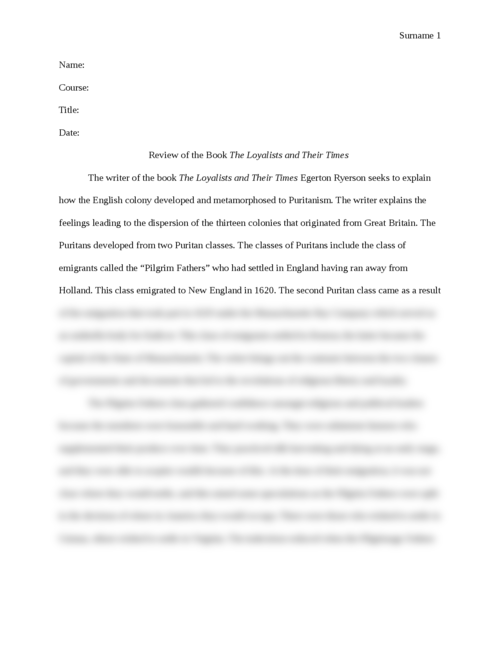 """Book Review:  """"The Loyalists of America Their Times From 1620-1816 vol 1"""" - Page 1"""