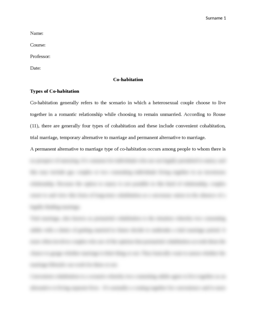 Essay on Cohabitation - Page 1