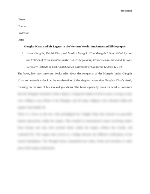 Genghis Khan and his Legacy to the Western World: An Annotated Bibliography - Page 1