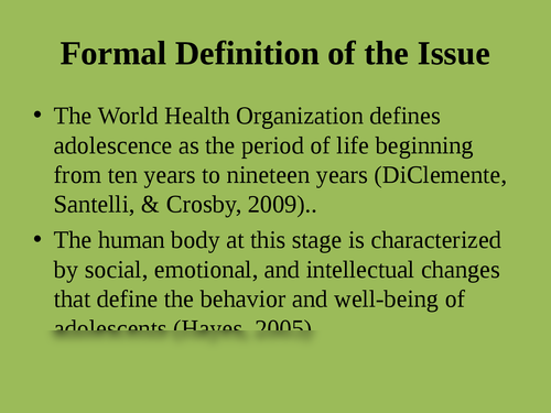 """A presentation on """"Issues adolescent health"""" - Page 2"""
