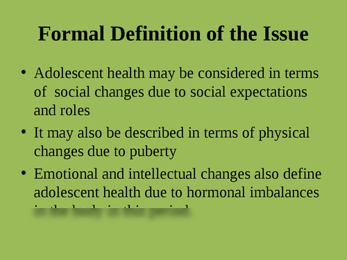 """A presentation on """"Issues adolescent health"""" - Page 3"""