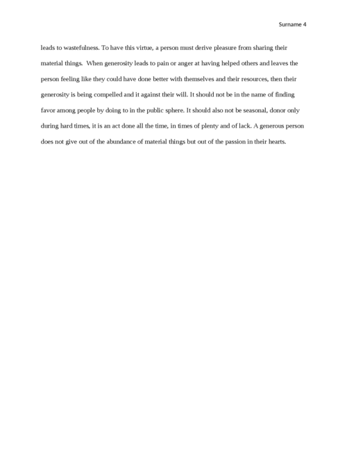 Essay on Generosity as a virtue - Page 4