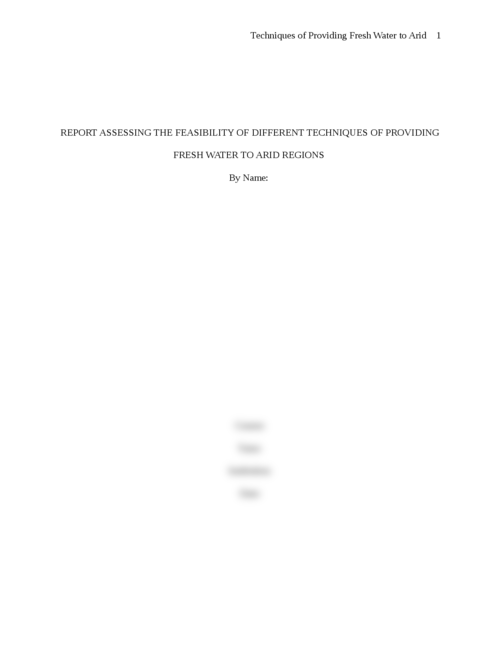 Report assessing the feasibility of different techniques of providing fresh water to arid regions - Page 1