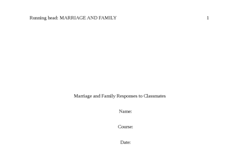 Marriage and Family Responses to Classmates