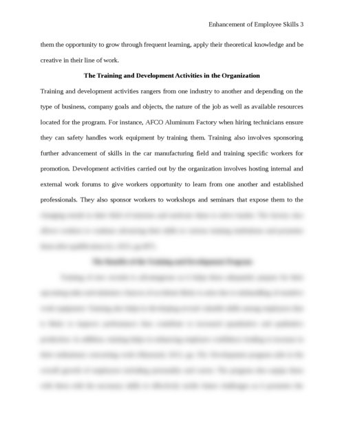 Essay on enhancement of Employee Skills - Page 3
