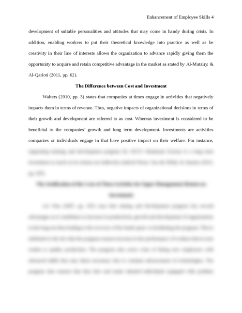 Essay on enhancement of Employee Skills - Page 4