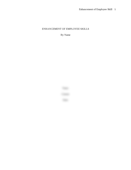 Essay on enhancement of Employee Skills - Page 1