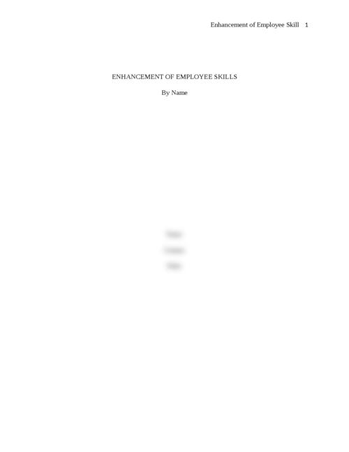 Essay on enhancement of Employee Skills