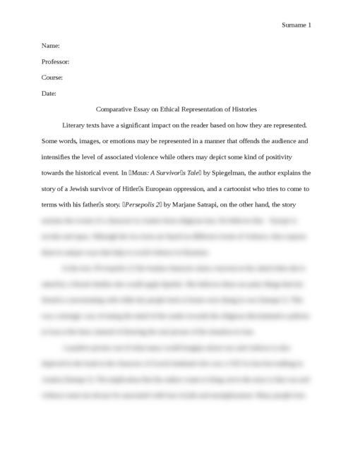 Comparative Essay on Ethical Representation of Histories - Page 1