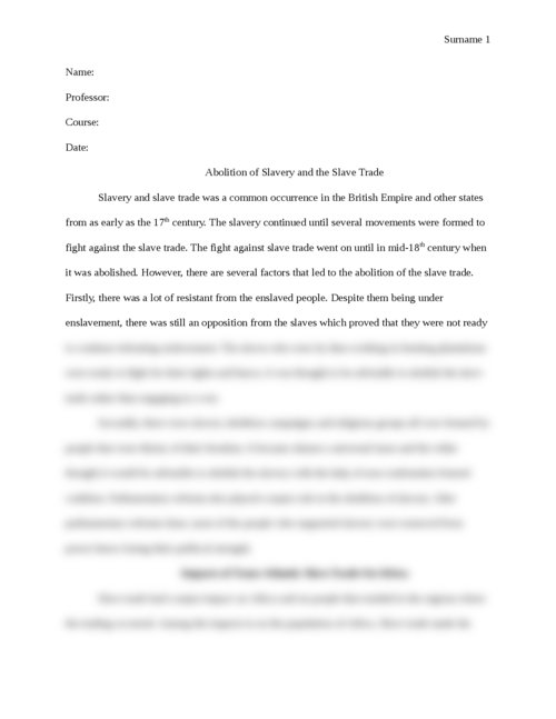 Abolition of Slavery and the Slave Trade - Page 1
