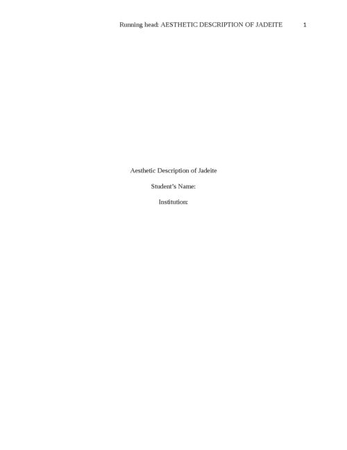 Aesthetic Description of Jadeite - Page 1