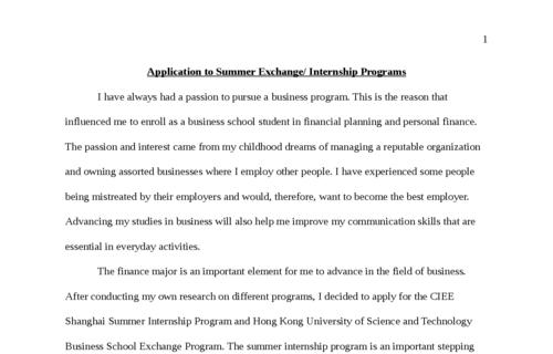 Application to Summer Exchange/ Internship Programs