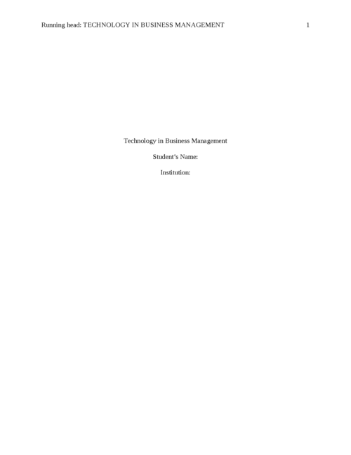 Technology in Business Management - Page 1