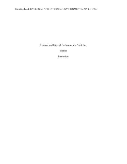 External and Internal Environments - Page 1