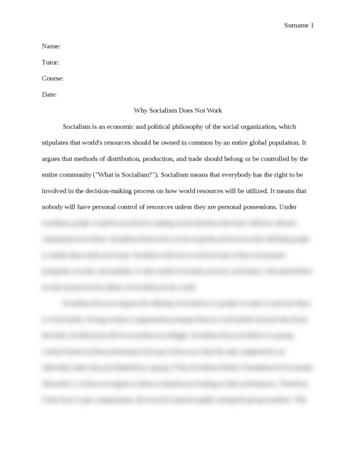 Argumentative essay on why Socialism Doesn't Work - Page 1