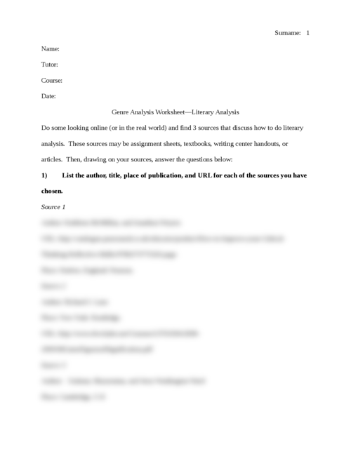 Genre Analysis Worksheet—Literary Analysis - Page 1