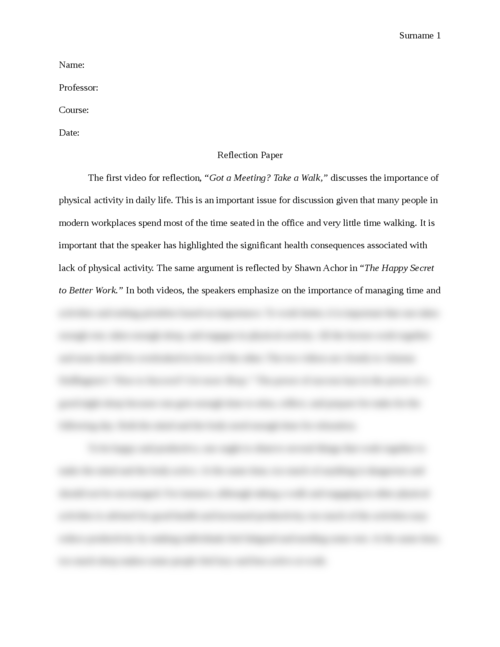 "Reflection Paper for ""Got a Meeting? Take a Walk""  - Page 1"