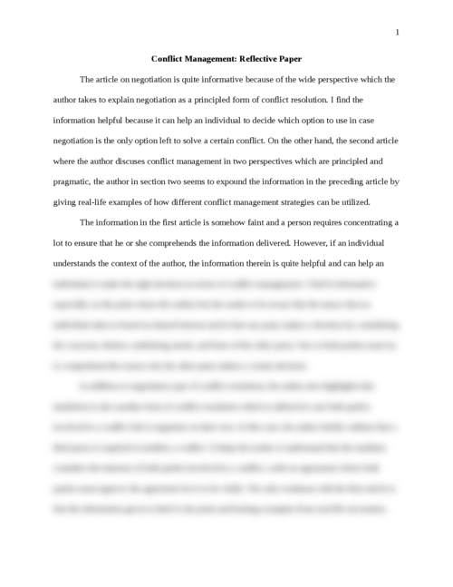 Conflict Management: Reflective Paper - Page 1