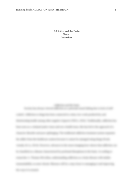 """Short Review paper on article """"Addiction and the brain"""" - Page 1"""