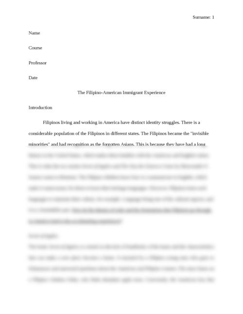 The Filipino-American Immigrant Experience